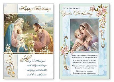 Birthday Blessings Religious Card Christian / Catholic Holy Family / Madonna