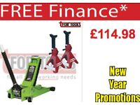 SEALEY TOOLS 2001 LOW ENTRY TROLLEY JACK AXLE STANDS DEAL 2TONNE LOW ENTRY ROCKET LIFT HI-VIS GREEN
