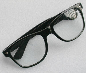 RETRO BLACK FASHION WAYFARER STYLE GEEK NERD CLEAR LENS GLASSES