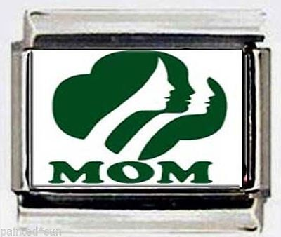 girl scouts MOM logo Photo Italian 9mm charm for modular link bracelet