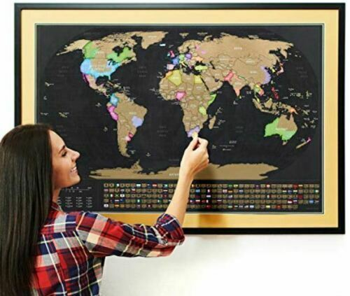 New Deluxe Travel Edition BIG Scratch Off World Map Poster with States/Country