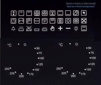 White Print Combo 38pc Symbols & 50-250 Degree Oven Adhesive Knob Sticker Label