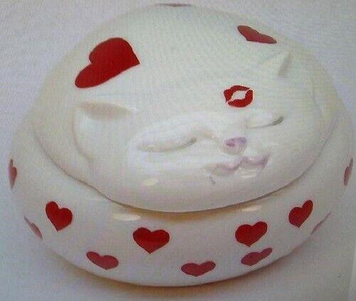 """""""LOVE ME LOVE MY CAT"""" PORCELAIN TRINKET BOX TAKAHASHI JAPAN VINTAGE 1980 NIB"""