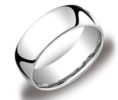 Mens Womens Solid 14K White Gold Plain Wedding Ring Band Comfort Fit 8MM size 9