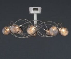 NEXT Ceiling Light & Chandelier, Lana 10 Arm Smoked Glass Flush