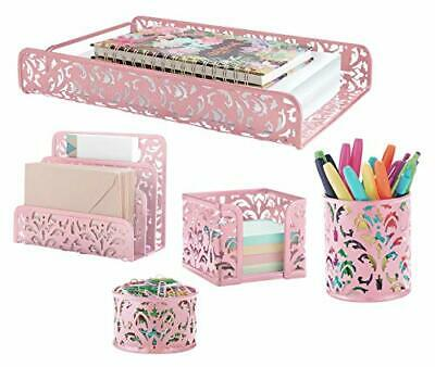 Pink 5-piece Metal Desk Accessories Desk Organizer Desk Decor Set Cute Office