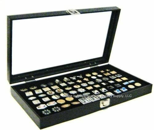 1 Glass Top Lid Black Cufflinks Display Organizer Storage Boxes Case