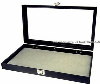 1 Key Lock Grey Pad Display Box Case Militaria Medals Pins Jewelry Awards Knife