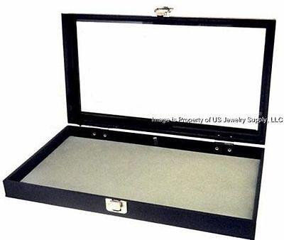 1 Key Lock Grey Pad Display Box Case Militaria Medals Pins Jewelry Awards Knife