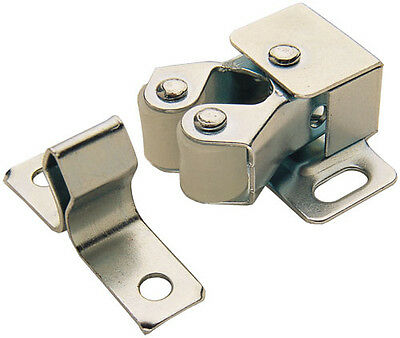ROLLER CATCH X 2 CUPBOARD CABINET DOOR LATCH TWIN DOUBLE CATCHES SILVER + SCREWS
