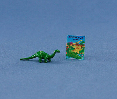 (1/12 Scale: Adorable Dollhouse Miniature Toy Dinosaur with Book #HCX109)
