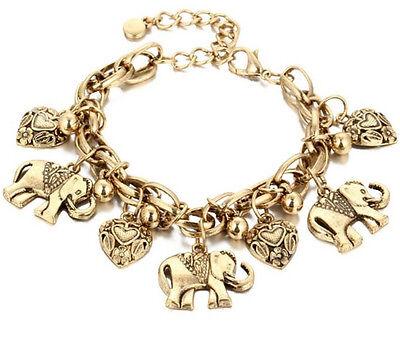 Pulsera Estilo Antigua Con Elefante Y Corazon Pulso Ba Ado En Plata O Oro