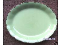 "Antique Green Almond Petal Grindley Platters. Gold around rim. 18"" & 16"""