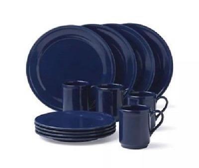 LENOX KATE SPADE ~ All in Good Taste Sculpted Scallop NAVY 12 pc Dinnerware Set