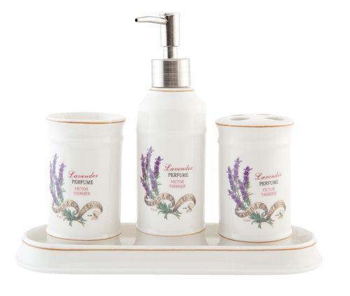 Clayre U0026 Eef 4 Tlg Bad Set Lavendel Seifenspender Keramik WC Set Becher  52509