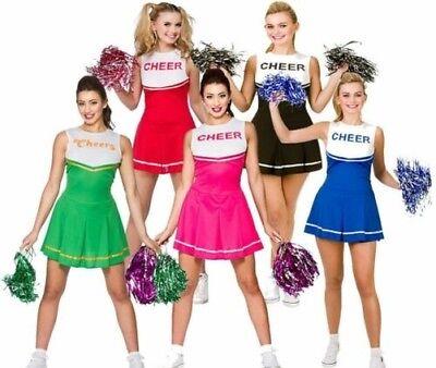 Cheerleader Kostüm Damen Hoch Schuluniform + Pom - Cheerleader Kostüm Pom Poms