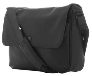 "Platinum 15.6"" Laptop Leather Messenger Bag – Black"