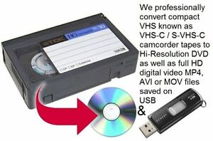We professionally convert camcorder VHS-C tapes to Digital & DVD