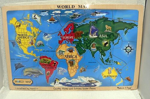 VINTAGE WOOD MAP OF THE WORLD HAND CRAFTED BY MELISSA & DOUG