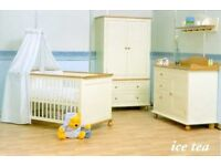 Euro baby nursery furniture set. Cotbed, wardrobe, changer and shelf. In buttermilk so unisex.