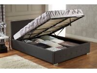 Black Ottoman Storage Double Bed