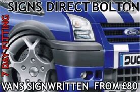 Van signwriting 'bolton/bury based' 7 day service save 30% free design emailed