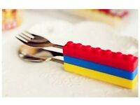 CHILDRENS LEGO BUILDING CUTLERY SET STOCKING FILLERS