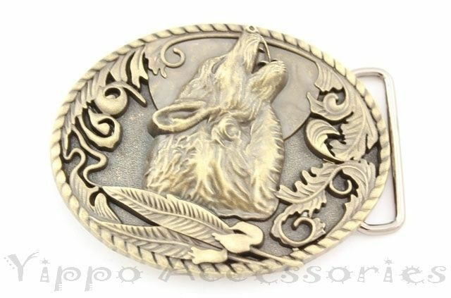 Bronze Howling Wolf Western Metal Fashion Belt Buckle