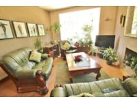 2 Green leather sofas & armchair