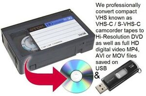 We convert VHS-C compact camcorder tapes to USB & DVD