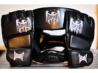 Martial arts gloves and headgear.