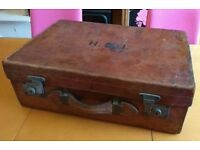 Large vintage leather suitcase in working order