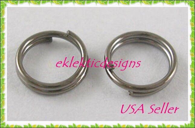 6mm 50pcs Gunmetal Black Plated Split Dbl Jump Rings Jewelry Findings Earrings