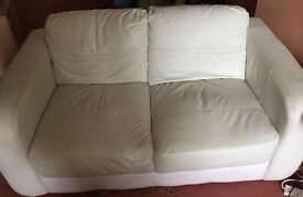 2 Seater White Leather sofa in excellent condition