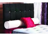 Double Bed BRANDNEW in the wrapper Black Crush Velvet 2 Drawers Extra High Diamante Headboard