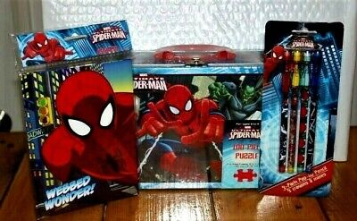 Marvel Spider-Man Lunch Box School Set /w 4 Pencil Set Journal - Puzzle New 2012