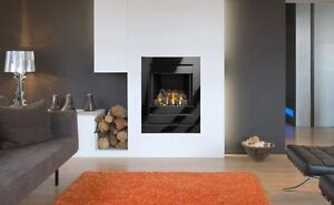 4kw GAS FIRE HOLE IN WALL INSET BLACK GLASS FRAME OPEN FRONTED HIGH HEAT OUTPUT