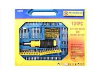 New 101 piece Ratchet Driver and screwdriver bit and Socket Bit Set in a case