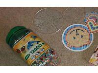 Huge jar of hama beads and boards