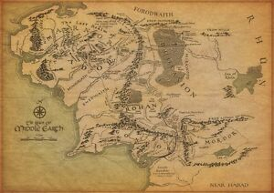 THE MAP OF MIDDLE EARTH Lord Of The Rings POSTER 30X21cm Home Art Print Decor
