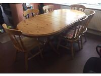 Pine Dining Table & 6 Pine Fiddle Back Chairs