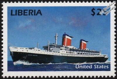 SS UNITED STATES Luxury Ocean Liner / Passenger Cruise Ship Stamp (Liberia)