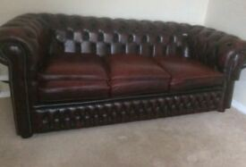 Chesterfield sofa club chair footstool