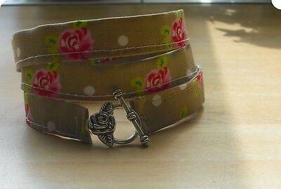 Armband Wickelarmband aus Stoff Stoffarmband mit Rosen