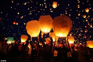 White Paper Chinese Lanterns Sky Fly Candle Lamp for Wish Party London Ontario image 6
