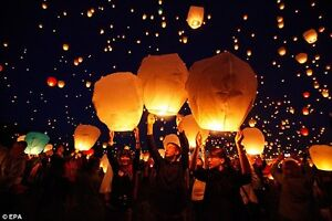 White Paper Chinese Lanterns Sky Fly Candle Lamp for Wish Party Prince George British Columbia image 4