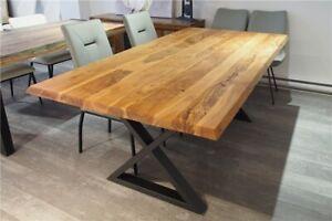 """Table de cuisine en bois d'acacia massif live edge 80""""L x 40""""W"""