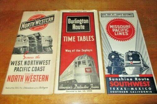 3 RAILROAD TIMETABLE-ROUTE-1946-MISSOURI PACIFIC-BURLINGTON-CHICAGO NORTHWESTERN