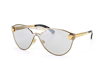 NEW Authentic VERSACE Rock Icons Gold Shield Aviator Sunglasses VE 2161 1002/6G