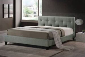 $80obo GRAY TUFTED HEADBOARD & Matching FOOTBOARD - DOUBLE/FULL